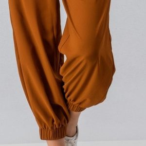 Aaron & Amber Pants - Off The Shoulder Harem Jumpsuit w/ Ring Tie Belt